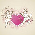Vintage vector background with pink heart and Cupids for Valentine's day. EPS 10 file, contains transparencies.