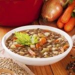 Green Lentil Soup and Ingredients