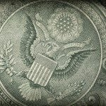 Macro shot of the seal of the United States on the US one dollar bill