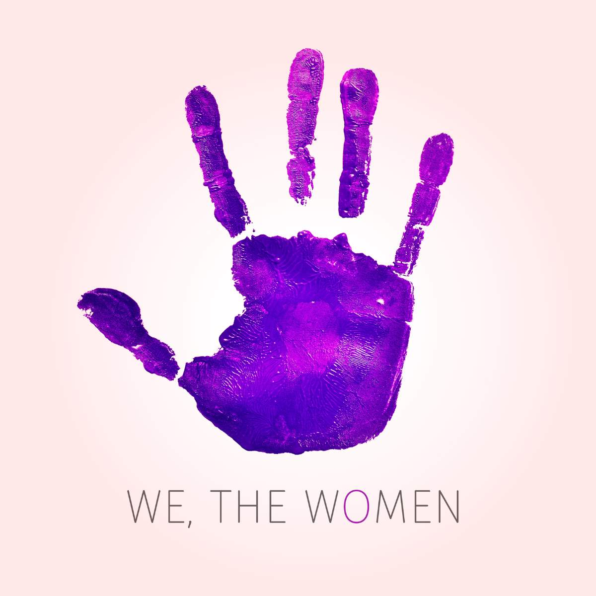 a violet handprint and the text we, the womens written on a soft pink background