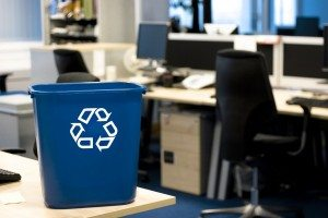 Great image for depicting and promoting recycling in the office. See portfolio for computer and bin close-up.